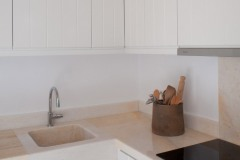 The marble worktop in the kitchen